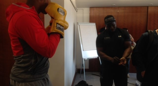 Anthony Joshua Spars in Cleto Reyes gloves