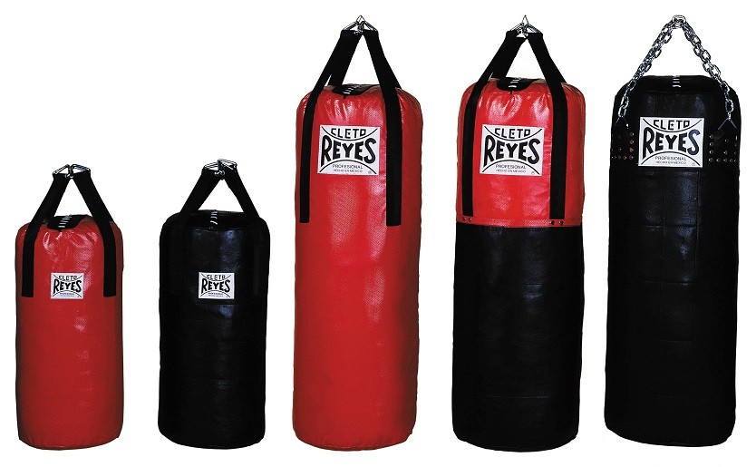Product shot of 5 different leather heavy bags from Cleto Reyes. Colours a variety of black and red.