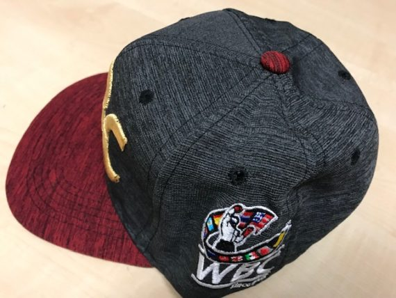 side view of of the embroidered wbc logo on the side of wbc basecall cap
