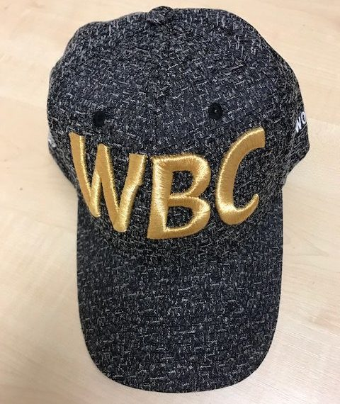 Front view of a grey WBC baseball cap with WBC embroidered in Gold