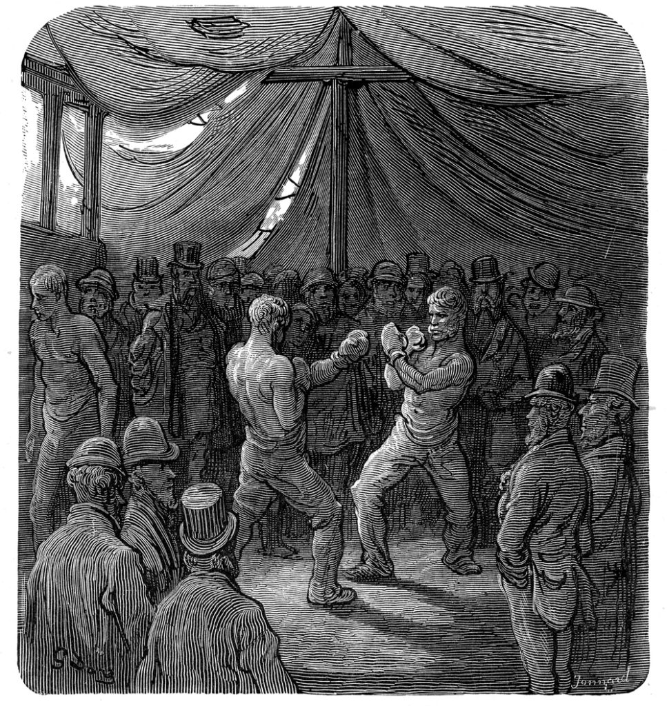 Vintage engraving showing a scene from 19th century Victorian London. The Noble Art. People watch two men in a boxing match.