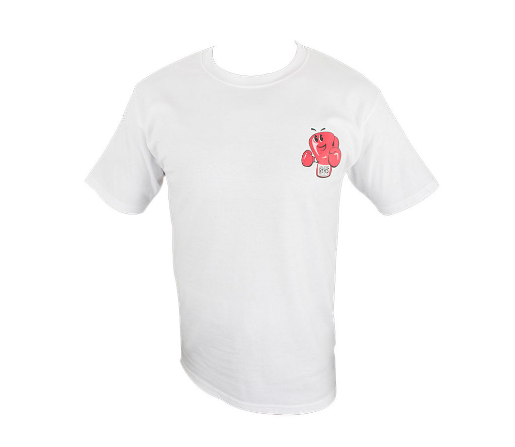 Product shot of white Cleto Reyes t-shirt with red logo