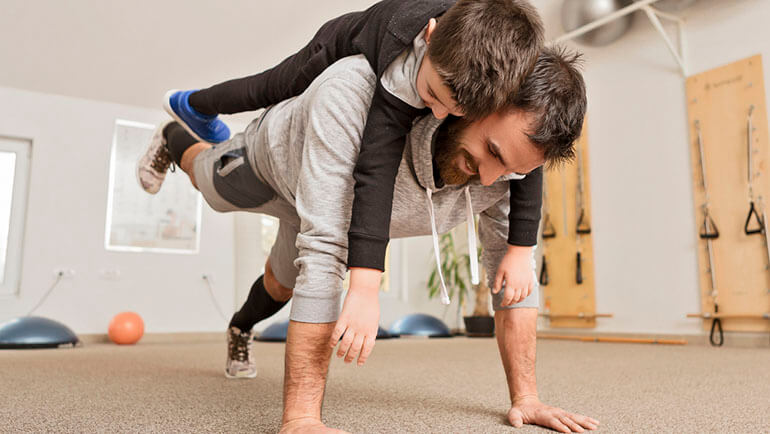 home workout for kids father and son press up