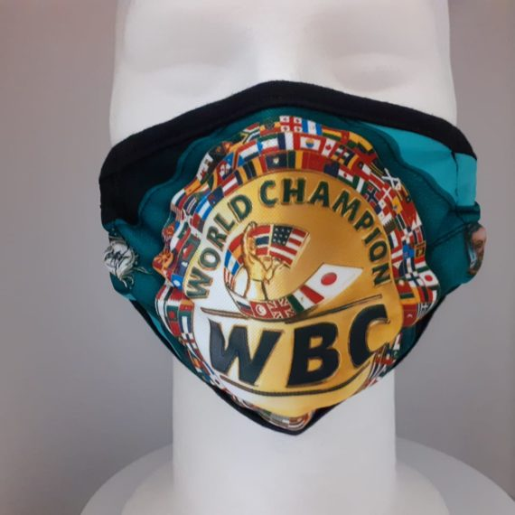 WBC Green Championship belt face mask
